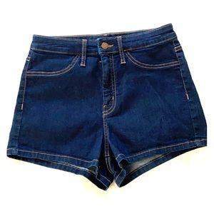 High waist blue jean shorts
